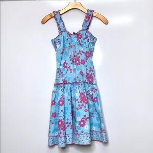 PUMPKIN PATCH Girl's Blue Pink  Drop Waist Dress